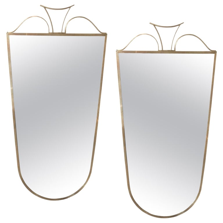 Pair of Elegant Italian Brass Wall Mirrors, circa 1950 For Sale