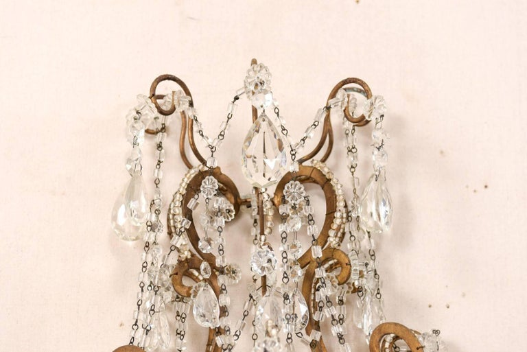 Pair of Elegant Italian Crystal and Gilded Metal Sconces, Mid-20th Century For Sale 6