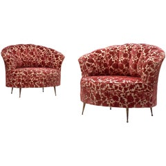 Pair of Elegant Italian Lounge Chairs in Red Floral Upholstery