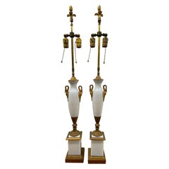 Pair of Elegant Opaline Glass Table Lamps with Gilded Brass Ormolu Mounts