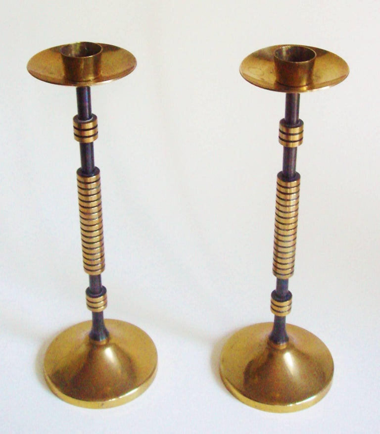 Pair Of Elegant Petite French Art Deco Machine Age Brass And Enamel