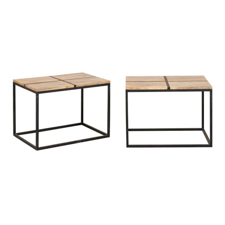 Pair of Elegant Petrified Wood Side Tables or Coffee Tables with Iron Bases