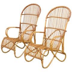 Pair of Elegant Rattan Easy Chairs