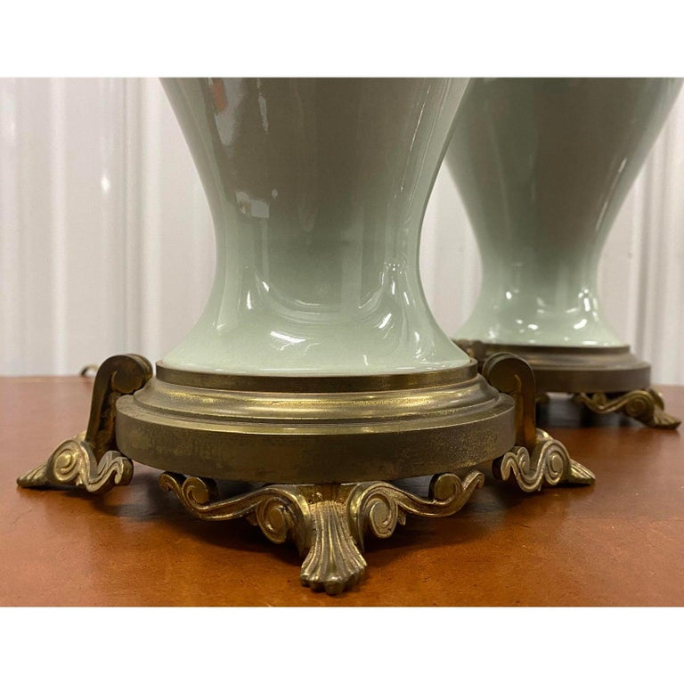 Pair of Elegant Sage Green Porcelain Table Lamps with Ormolu Mounts, circa 1940 For Sale 1