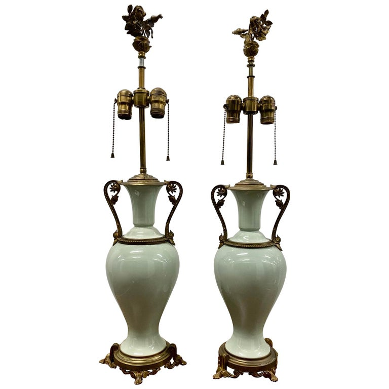 Pair of Elegant Sage Green Porcelain Table Lamps with Ormolu Mounts, circa 1940 For Sale
