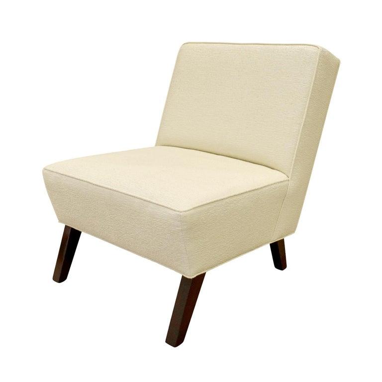 Mid-Century Modern Pair of Elegant Slipper Chairs, 1940s For Sale