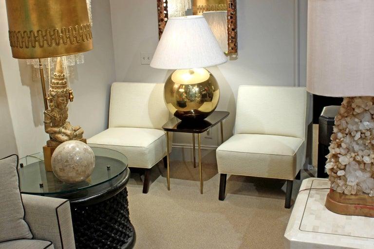 Upholstery Pair of Elegant Slipper Chairs, 1940s For Sale