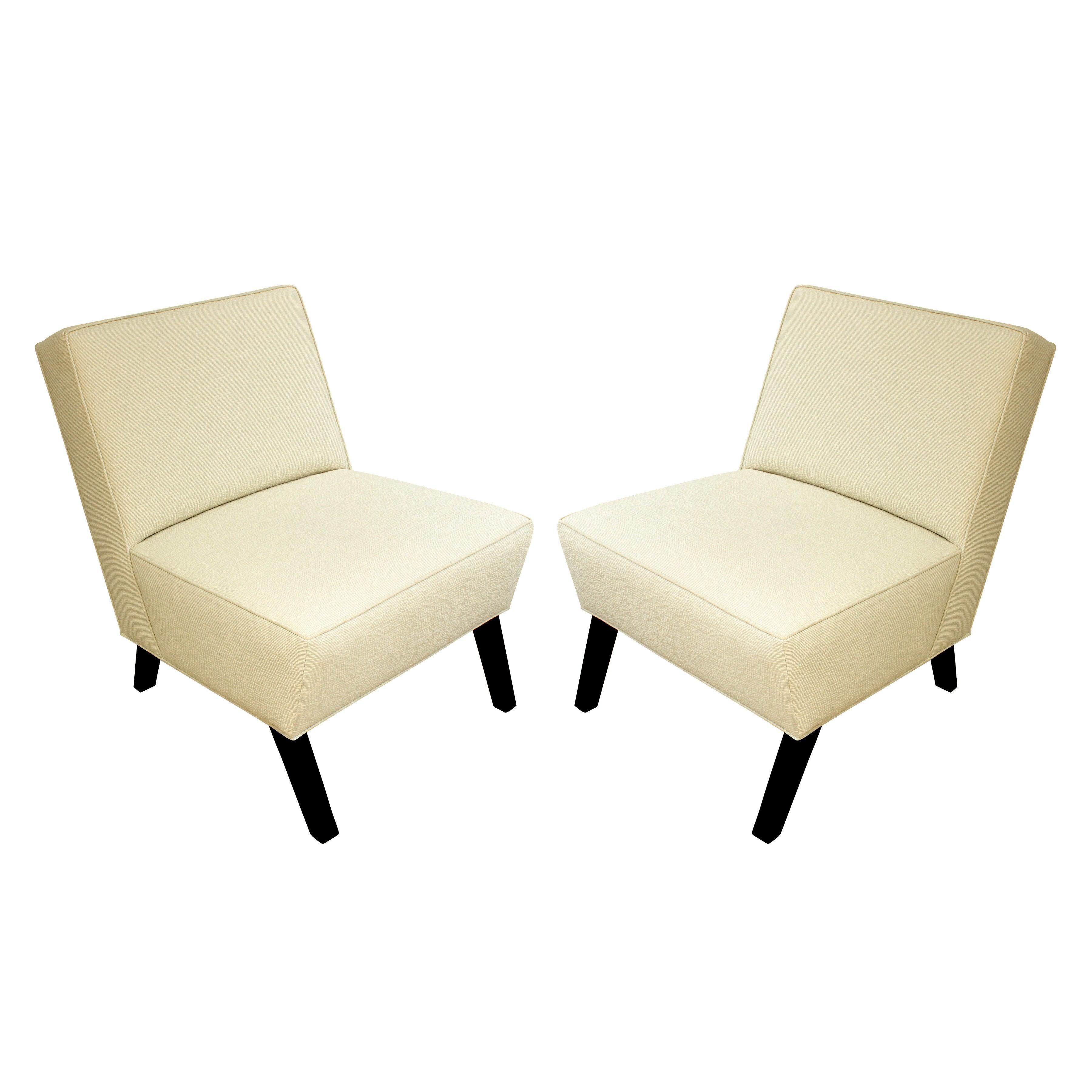 Pair of Elegant Slipper Chairs, 1940s