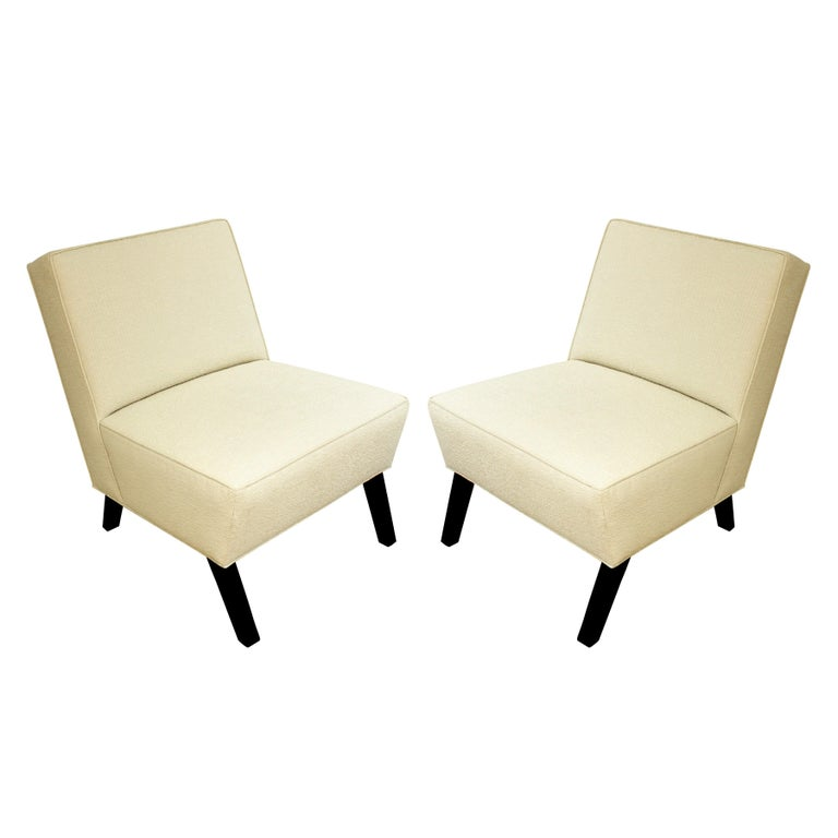 Pair of Elegant Slipper Chairs, 1940s For Sale