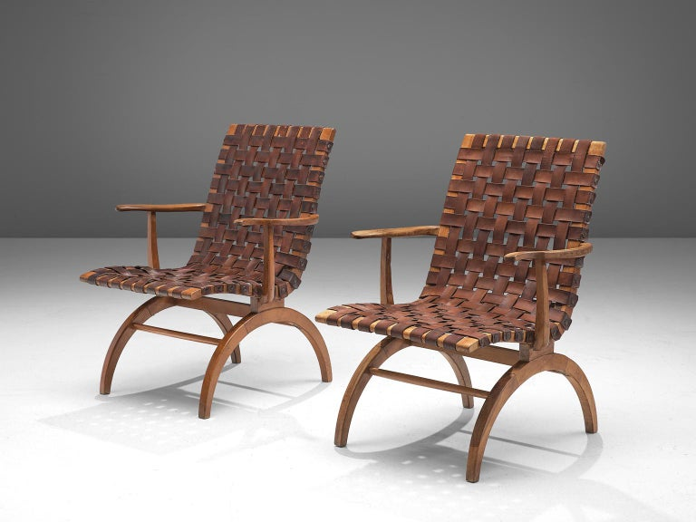 Mid-Century Modern Pair of Elegant Spanish Armchairs in Patinated Woven Leather  For Sale