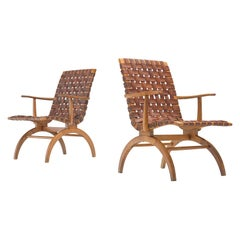 Pair of Elegant Spanish Armchairs in Patinated Woven Leather