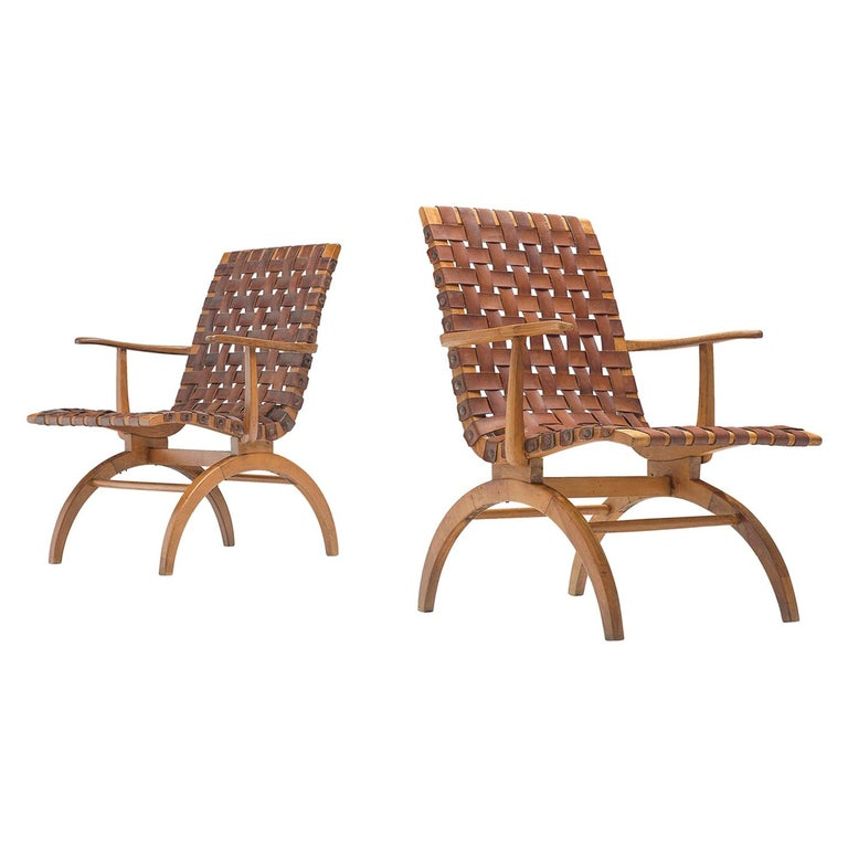 Pair of Elegant Spanish Armchairs in Patinated Woven Leather  For Sale
