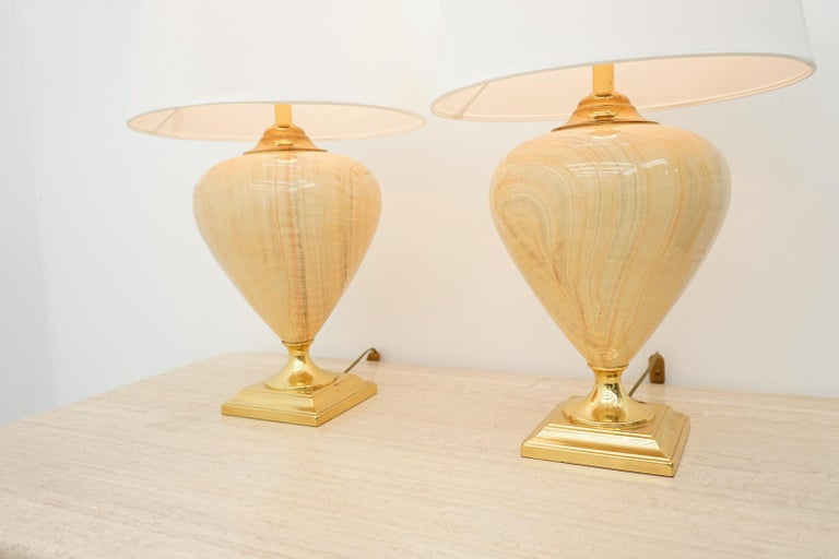 Hollywood Regency Pair of Elegant Table Lamps by Maison Le Dauphin, France, 1970s For Sale