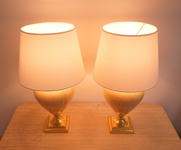 French Pair of Elegant Table Lamps by Maison Le Dauphin, France, 1970s For Sale