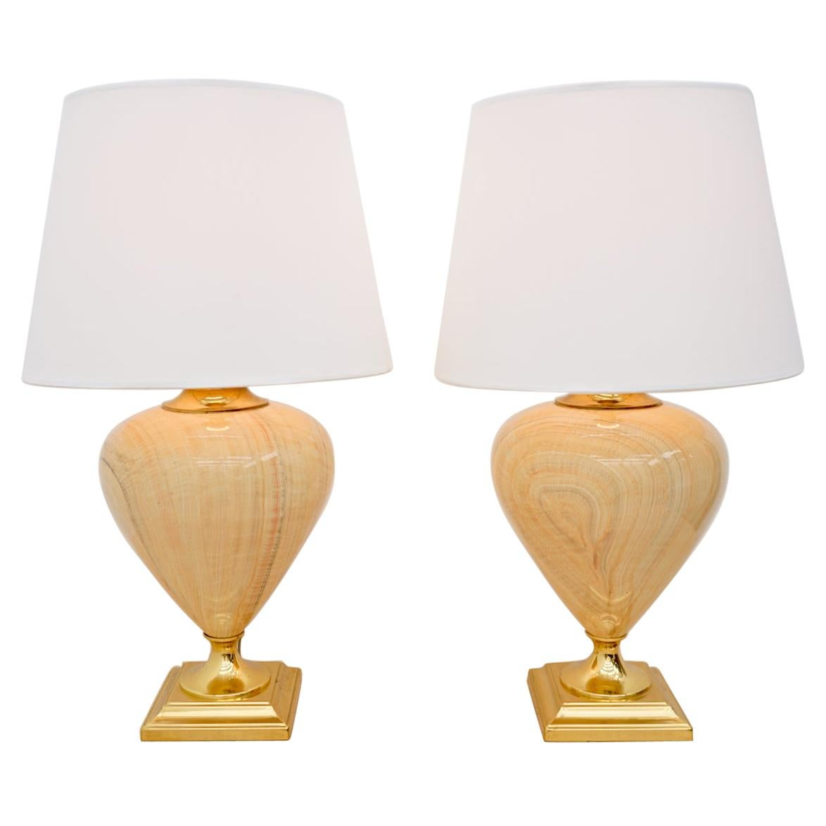 Pair of Elegant Table Lamps by Maison Le Dauphin, France, 1970s