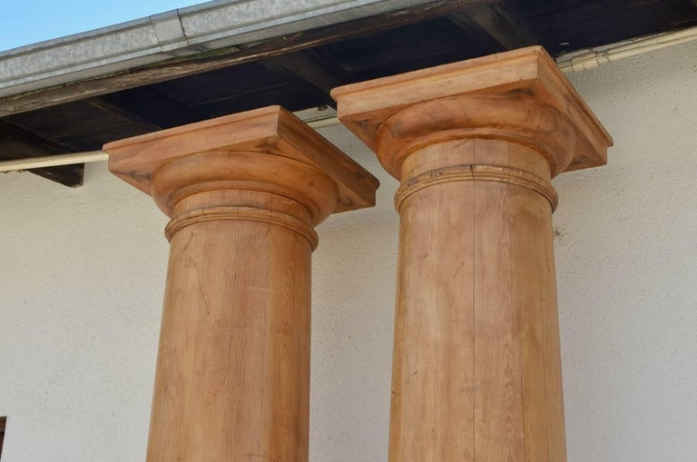 Neoclassical Pair of Elegant Tall Fluted Decorative Pine Columns For Sale