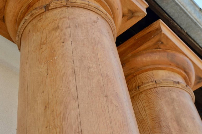 Hand-Carved Pair of Elegant Tall Fluted Decorative Pine Columns For Sale