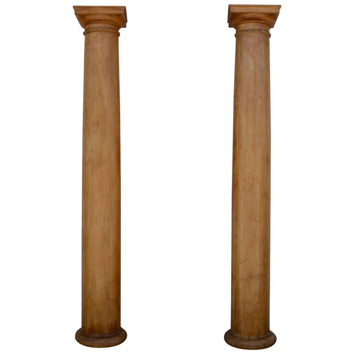Pair of Elegant Tall Fluted Decorative Pine Columns