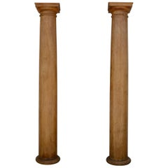 Pair of Elegant Tall Fluted Decorative Pine Columns