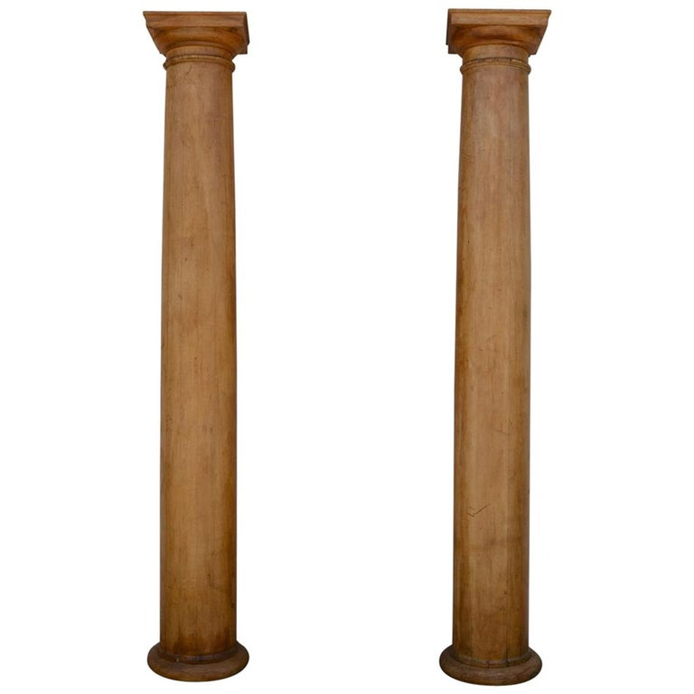 Pair of Elegant Tall Fluted Decorative Pine Columns For Sale