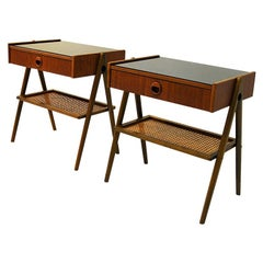Pair of Elegant Teak and Glass Top Night Tables, Sweden, 1960s
