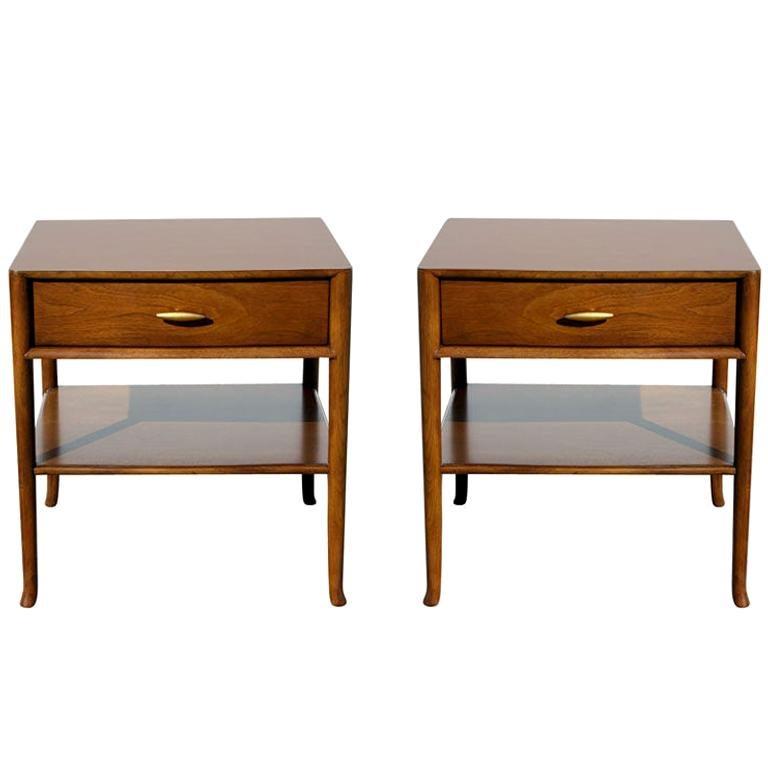Pair of Elegant T.H. Robsjohn-Gibbings Nightstands with 24K Gold Porcelain Knobs For Sale