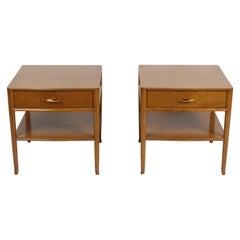 Pair of Elegant T.H. Robsjohn-Gibbings Nightstands with 24K Gold Porcelain Knobs