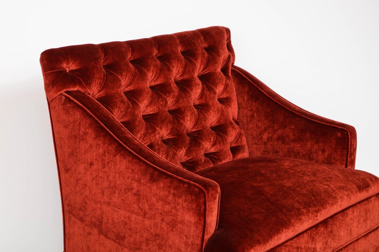 Mid-20th Century Pair of Elegant Tufted High Back Settees For Sale