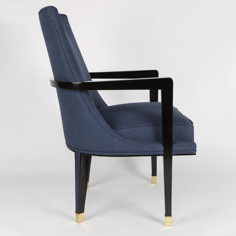 Mid-Century Modern Pair of Elegant Upholstered Lounge Chairs with Brass Sabots, 1950s For Sale