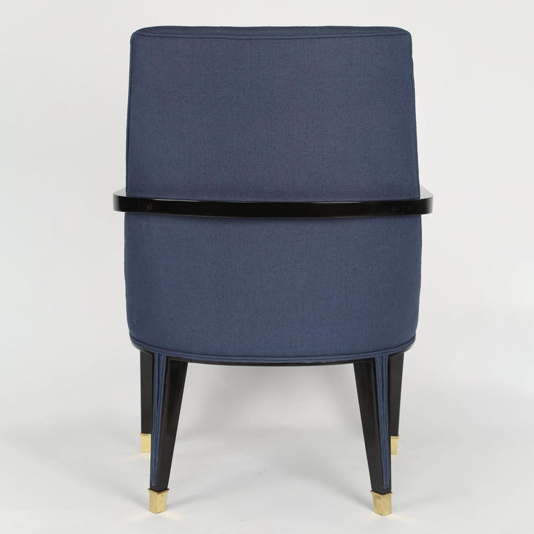 Ebonized Pair of Elegant Upholstered Lounge Chairs with Brass Sabots, 1950s For Sale