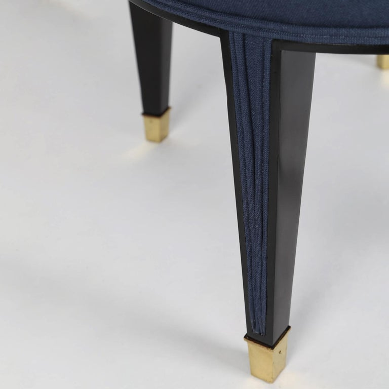 Mid-20th Century Pair of Elegant Upholstered Lounge Chairs with Brass Sabots, 1950s For Sale