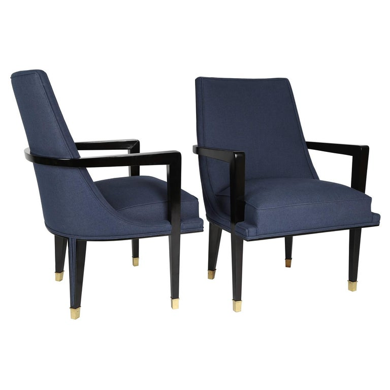 Pair of Elegant Upholstered Lounge Chairs with Brass Sabots, 1950s For Sale