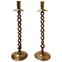 Pair of Elegant Victorian Candleholders in Braided Brass Metal