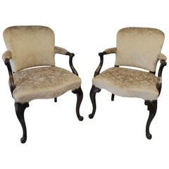 Pair of Elegant Victorian Floral Velvet Beige Antique Mahogany Chairs, 1880