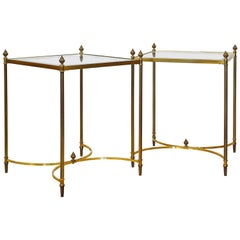 Pair of Elegant Vintage French Maison Bagues Style Brass and Glass End Tables