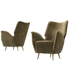 Pair of Elegant Wingback Chairs for ISA in Original Green Velvet