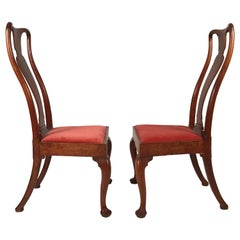 Pair of Elegantly Curved Queen Anne Period Chairs, circa 1710