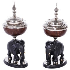 Pair of Elephant and Coconut Boxes or Garnitures