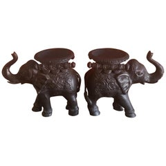 Pair of Elephant Candleholders in Cast Bronze