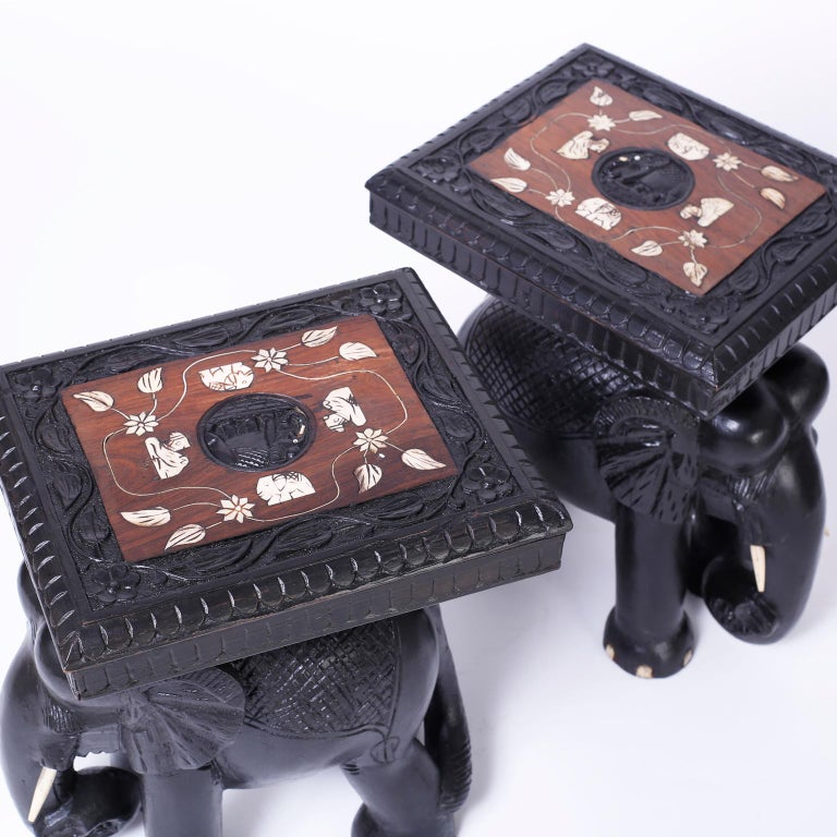 Anglo-Indian Pair of Elephant End Tables For Sale