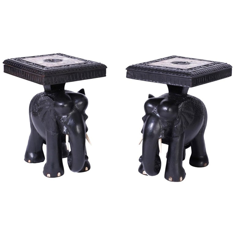 Pair of Elephant End Tables For Sale