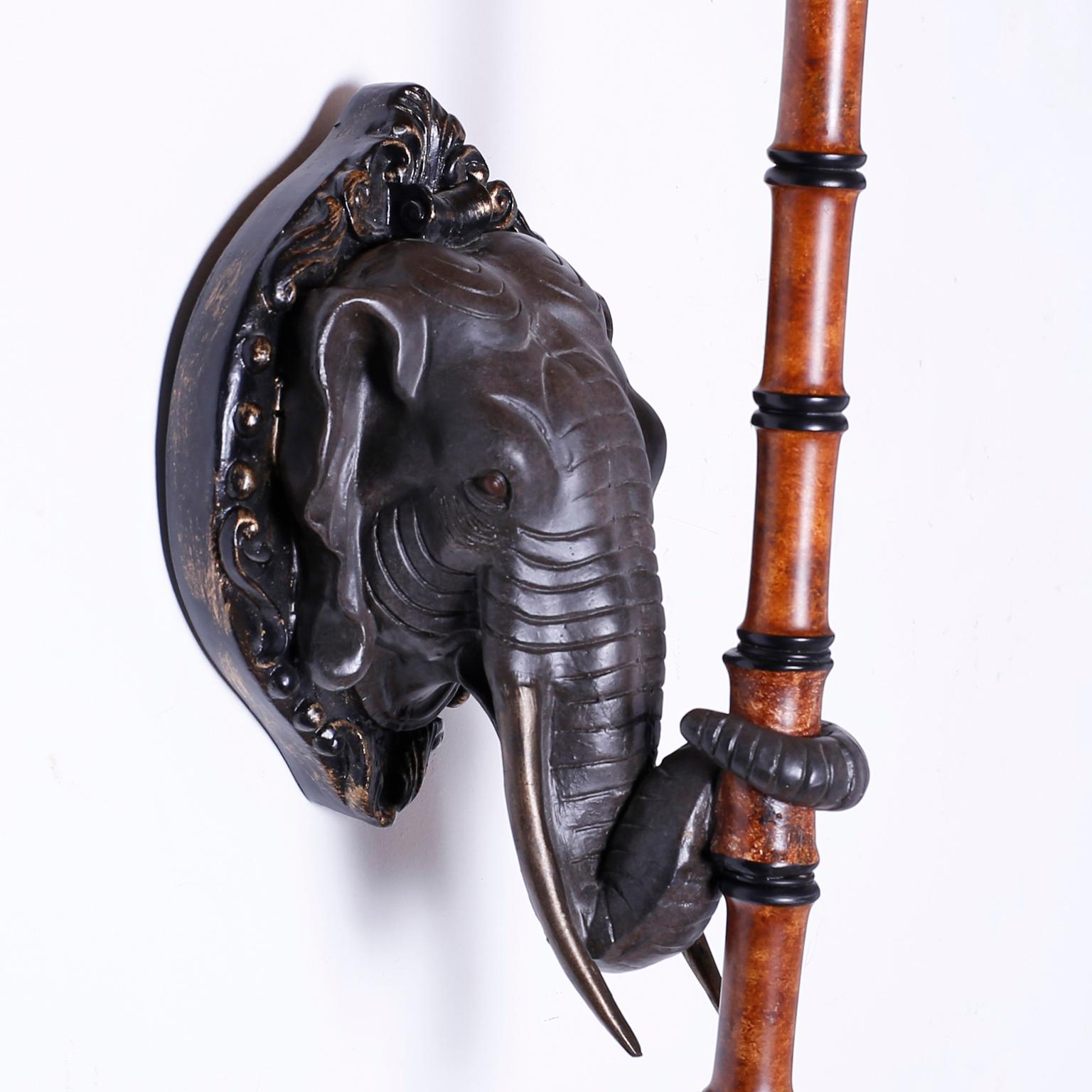Pair Of Elephant Head Wall Sconces With Umbrellas At 1stdibs