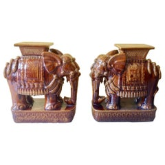 Pair of Elephant Motif Garden Seats