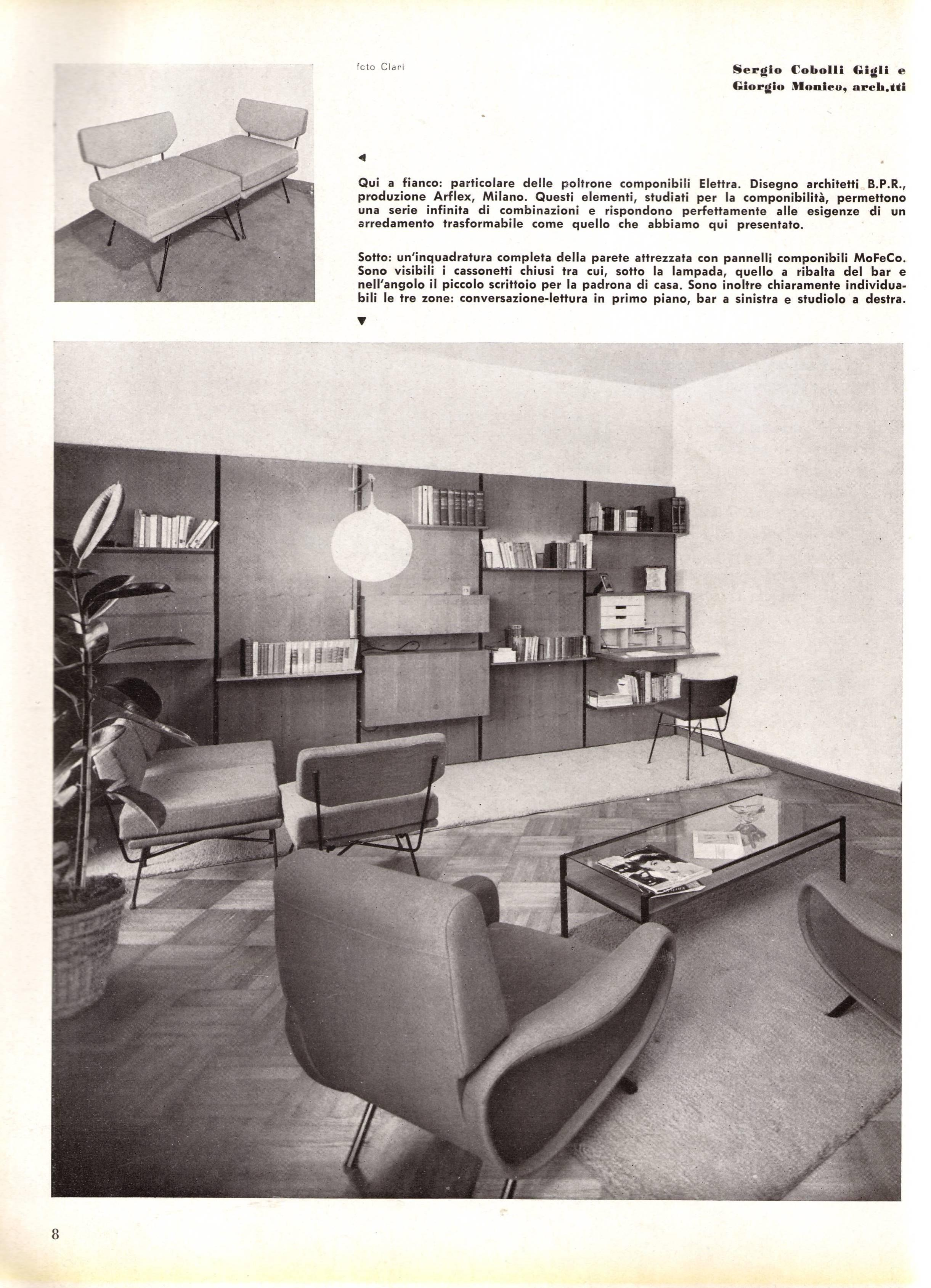Piano Bar Per Casa pair of 'elettra' lounge chairs by bbpr , arflex,italy 1953, compasso d'oro  1954