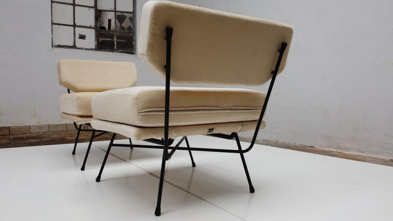 Fabric Pair of 'Elettra' Lounge Chairs by BBPR, Arflex, Italy 1953, Compasso D'Oro 1954 For Sale
