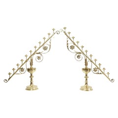 Pair of Eleven-Light Brass Candelabra