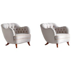 Pair of Elias Svedberg Armchairs for Nordiska Kompaniet, Sweden, 1940s