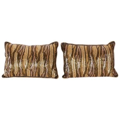 Pair of Elizabeth Phillips Rectangular Beaded Animal Print Pillows