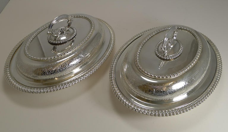 English Pair of Elkington Silver Plated Entree/Serving Dishes, 1884 For Sale