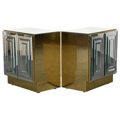 Pair of ELLO Brass and Mirror Bedside Tables, 1970s